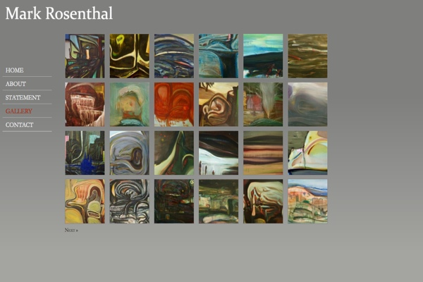 web design for an abstract painter in New York - Mark Rosenthal - gallery landing page