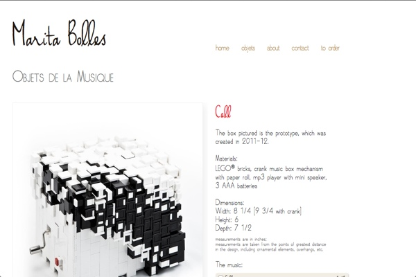 web design for a composer and sculptor - gallery single artwork page
