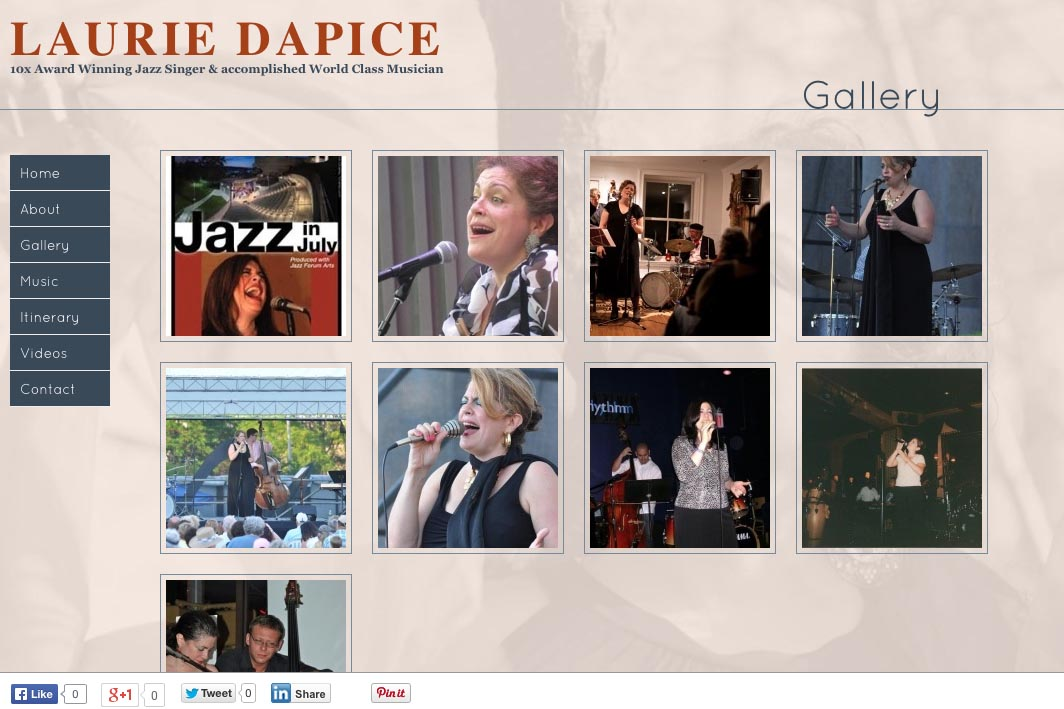 web design for a New York jazz singer - Laurie Dapice - gallery sub-section landing page