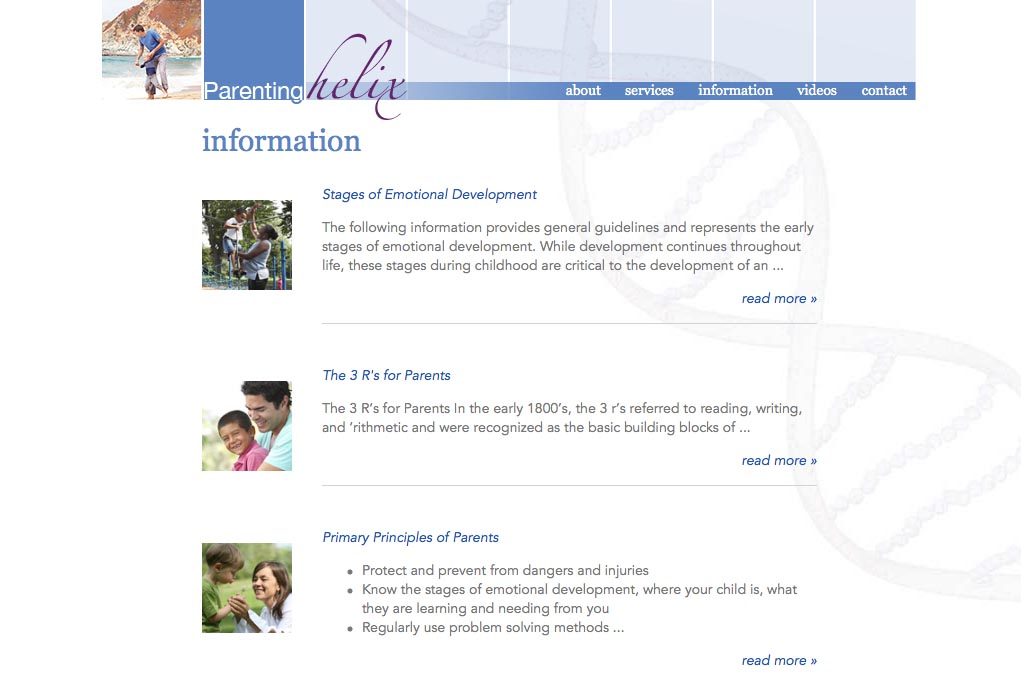 web design for a child psychologist and therapist - information landing page