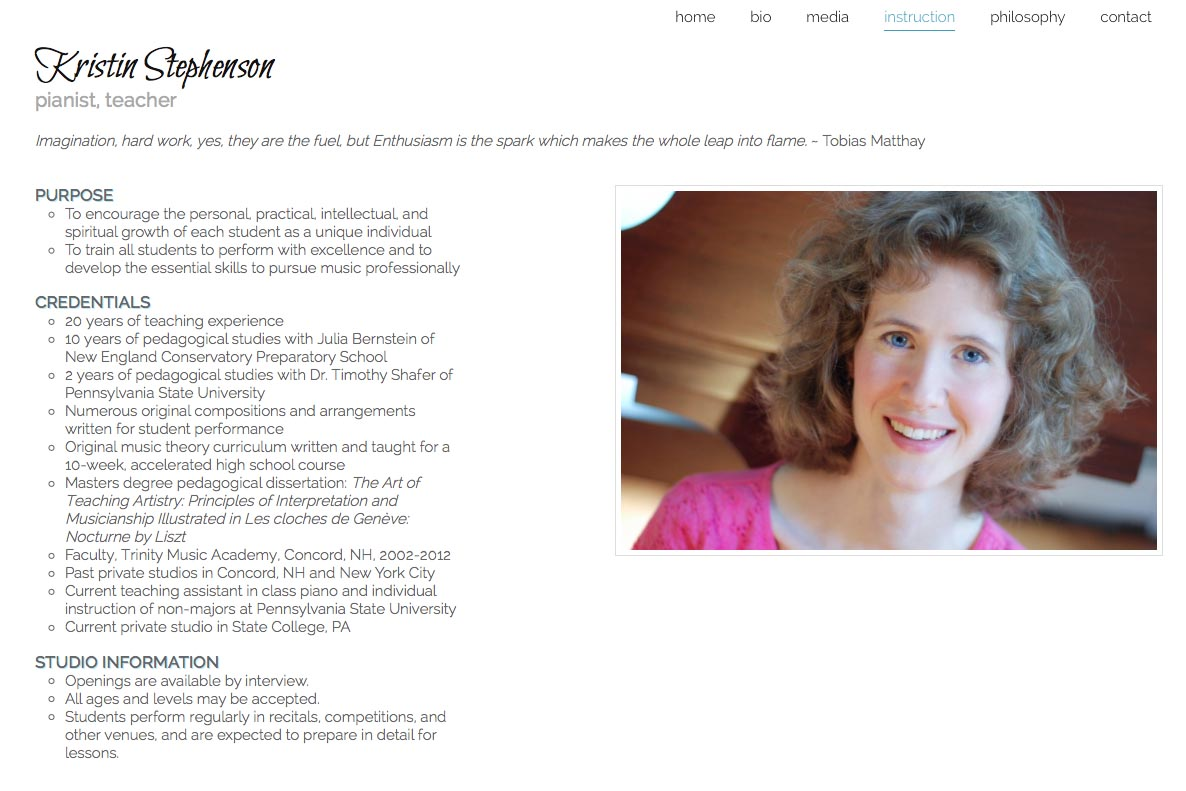 web design for a classical pianist and piano teacher - Kristin Stephenson - instruction page