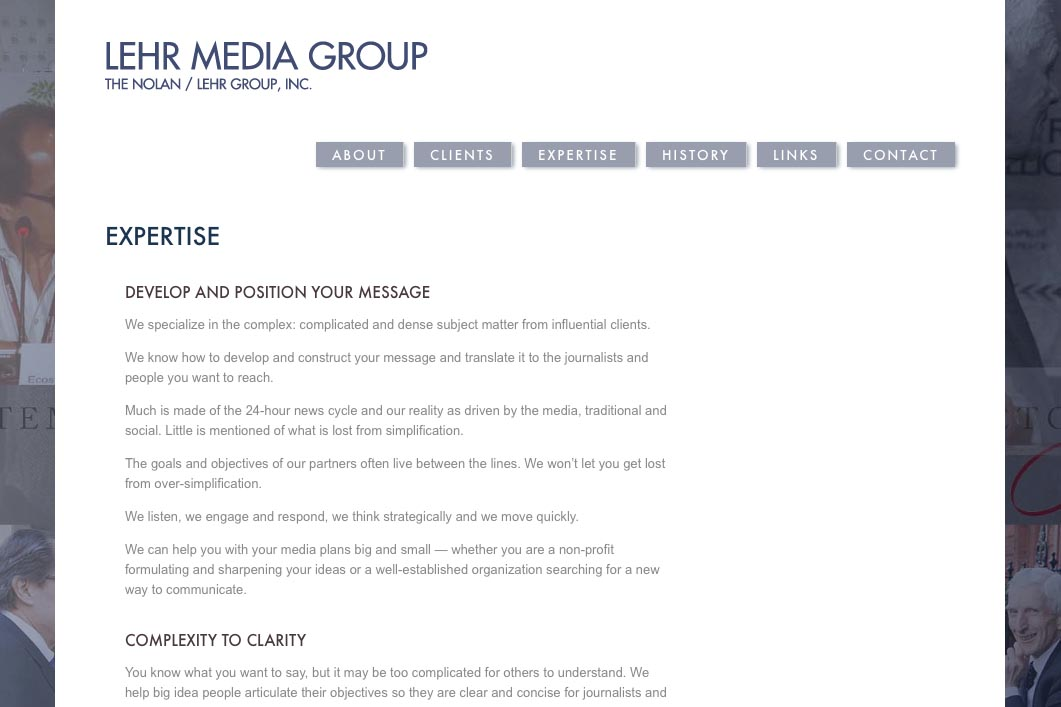 web design for a public relations consultant - expertise page
