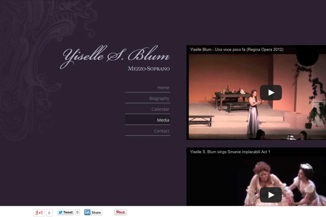 web design for an opera singer - Yiselle Blum - video page