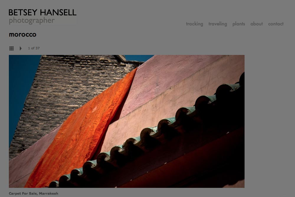 web design for a photographer - Betsey Hansell - single artwork page from morocco portfolio
