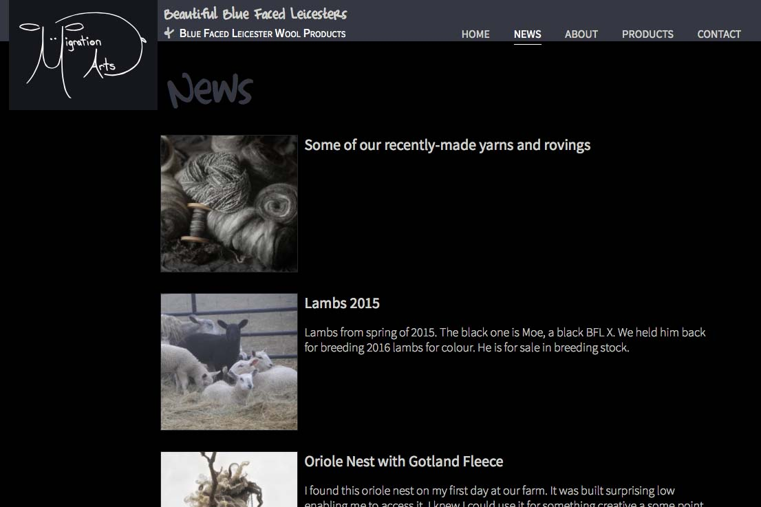 web design for a luxury wool products business - news index page