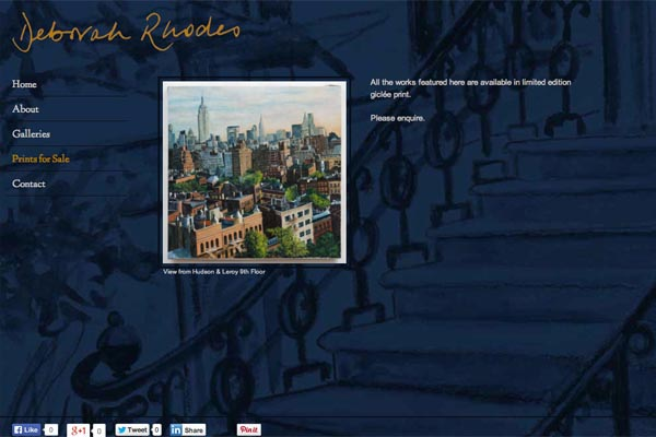 web design for an artist - Deborah Rhodes - prints for sale page