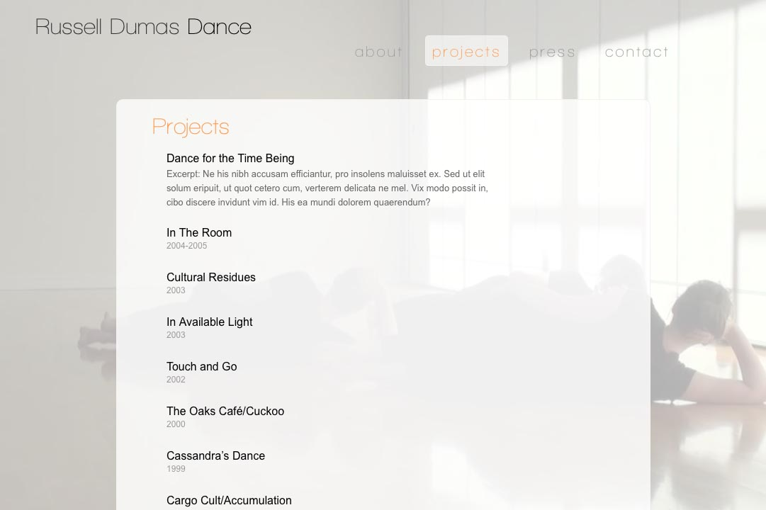 web design for a choreographer - projects index page