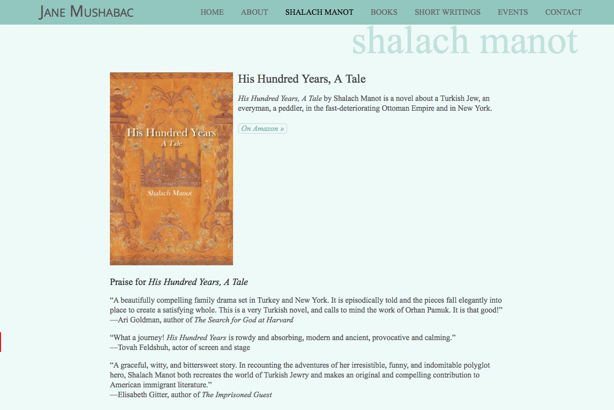 web design for an author - Jane Mushabac - shalach manot single page