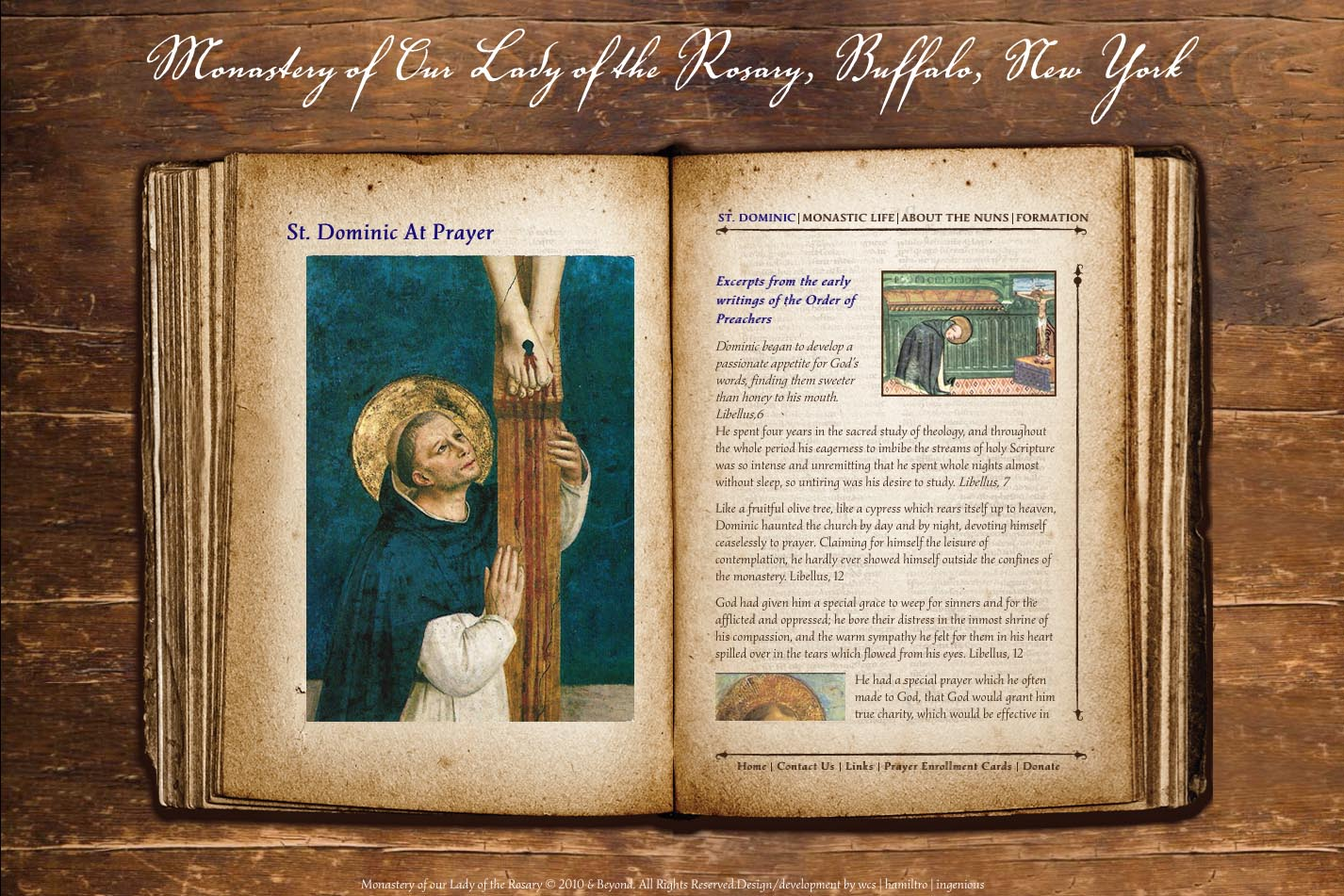 web design for a monastery - page about Saint Dominic