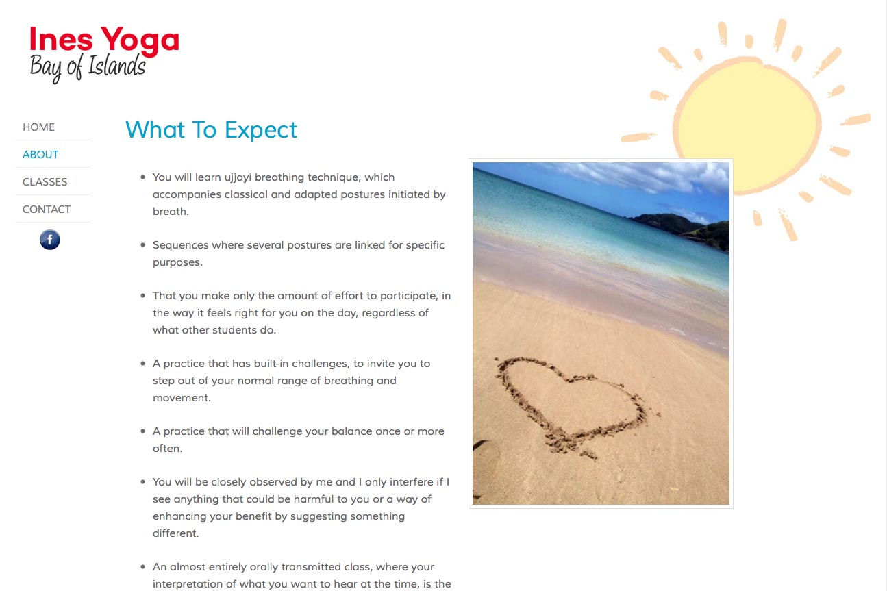 simple web design for a yoga teacher - Ines Piroth - page about what to expect