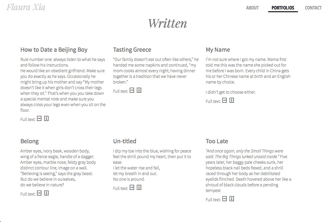 web design for an artist, writer, composer and actor - Flaura Xia - written works page