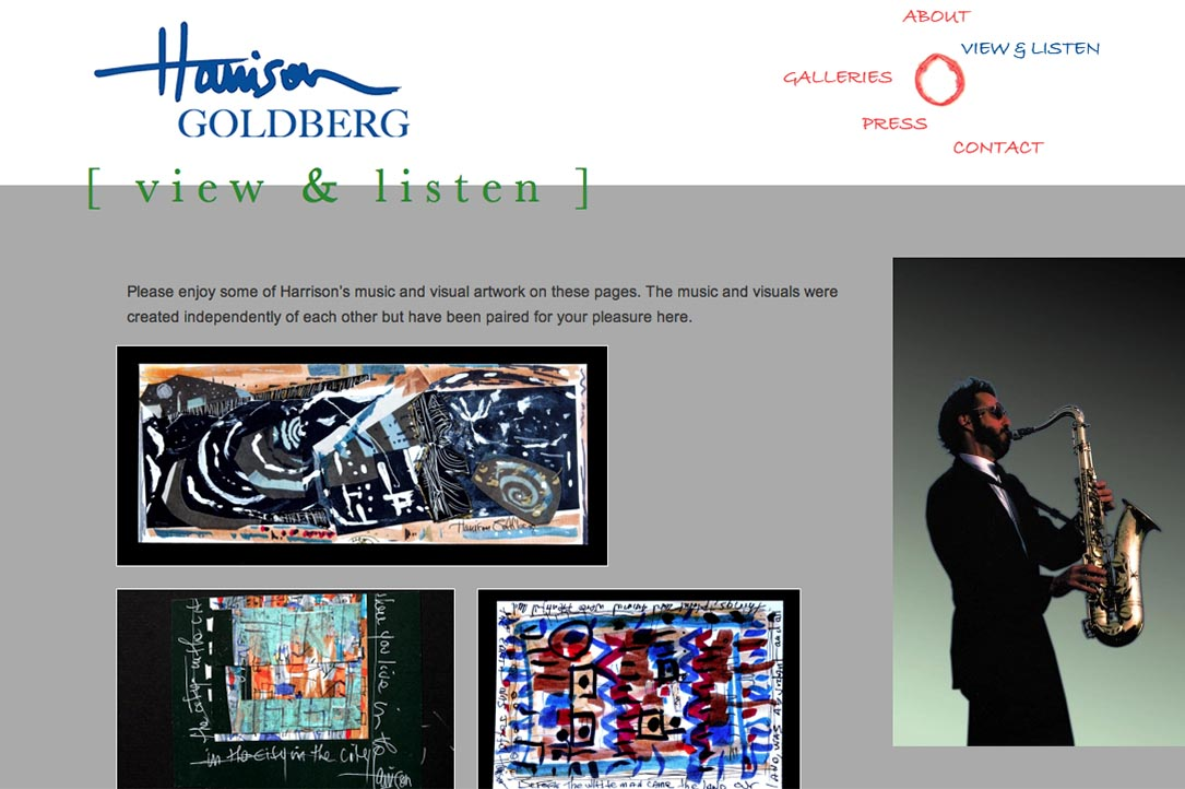 web design for a mixed media artist and jazz musician - Harrison Goldberg - view and listen index page