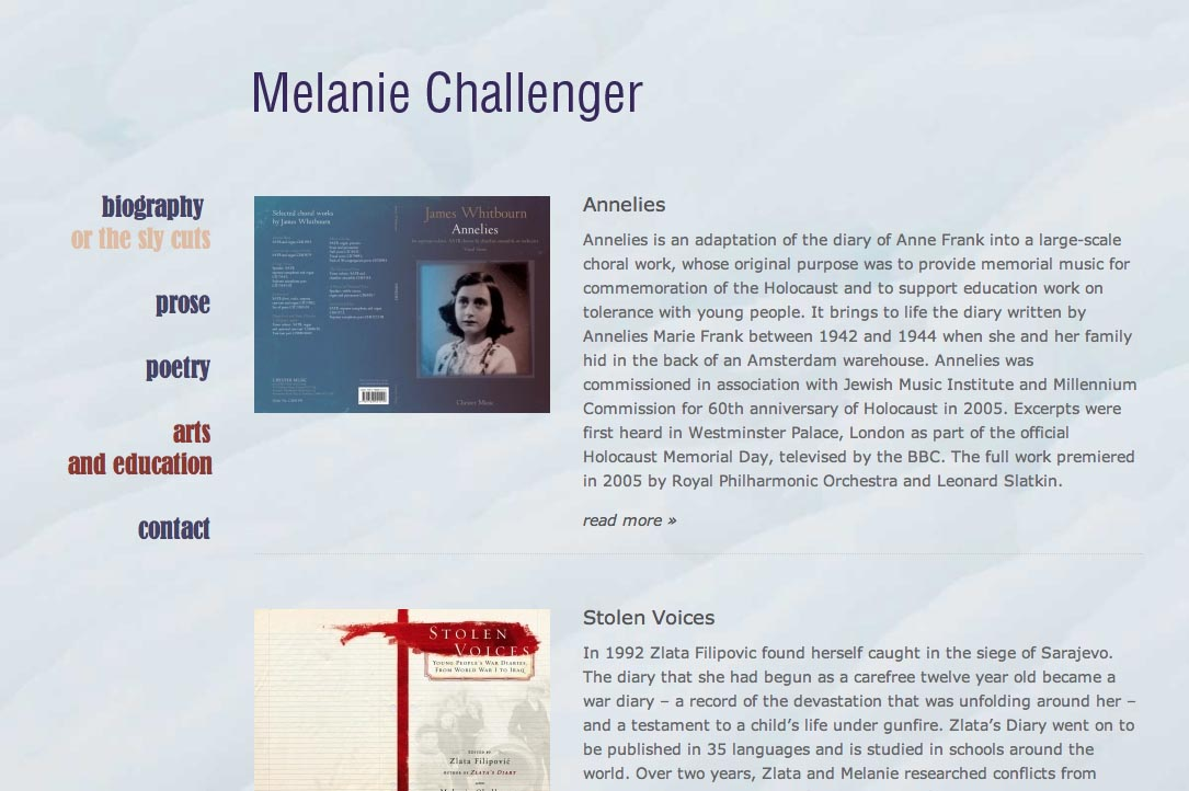 web design for a British writer - arts education page a