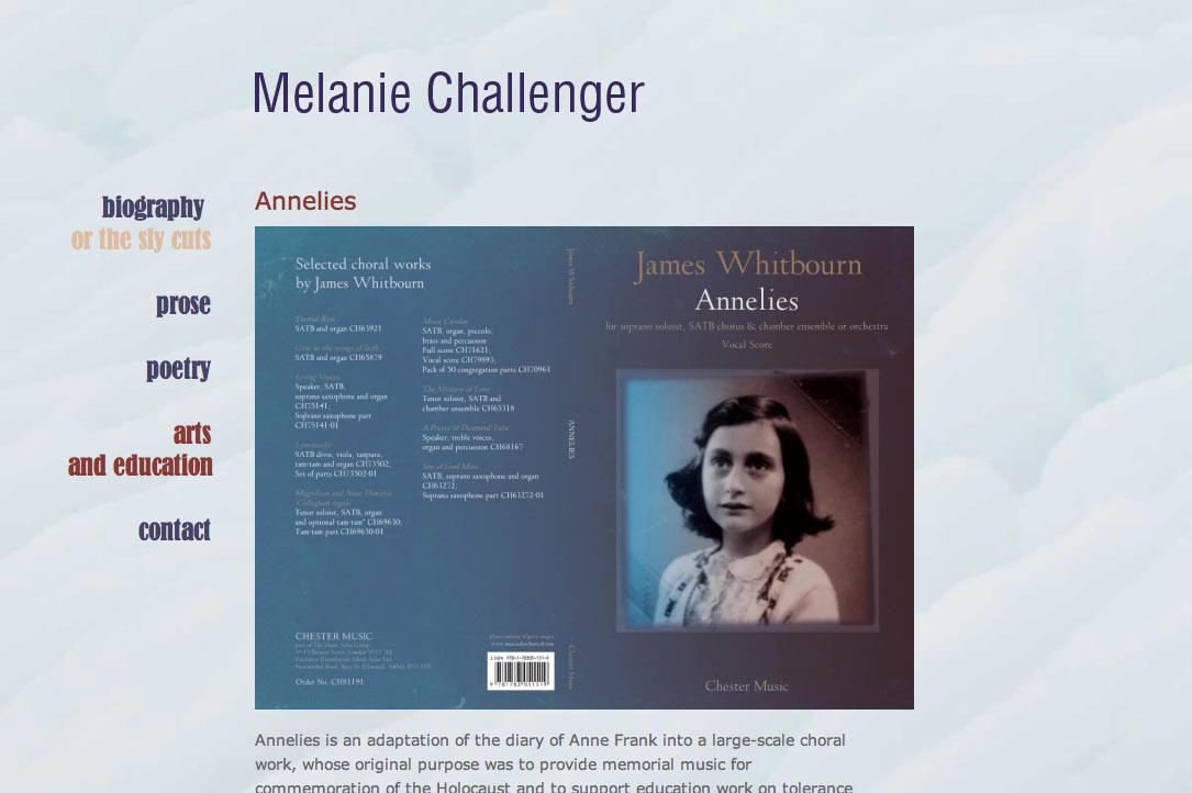 web design for a British writer - Melanie Challenger - arts education page b