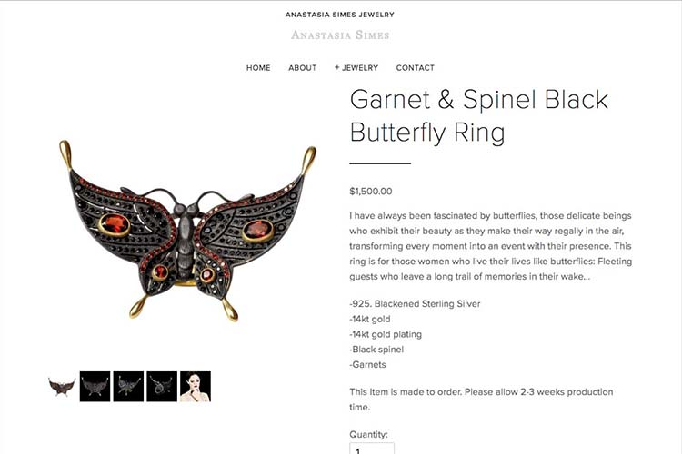 web design for a jewelry designer - jewelry product page