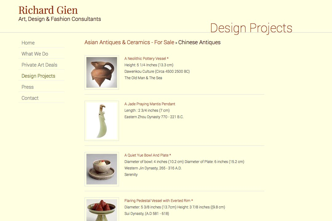 web design for a fashion designer, interior design consultant and art dealer - asian antique ceramics landing page