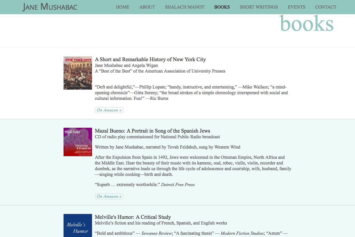 web design for an author - Jane Mushabac - books page