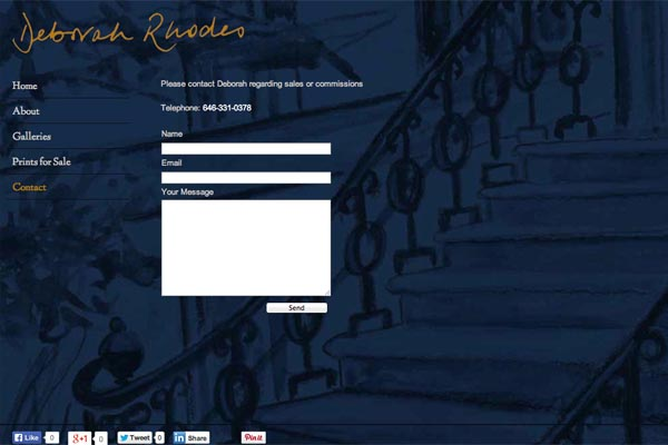 web design for an artist - Deborah Rhodes - contact page