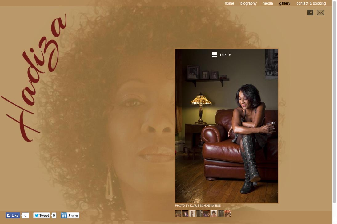 web design for a jazz singer - gallery single photo page