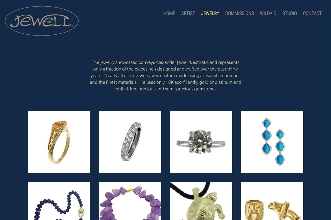 web design for an artisan-jeweler - jewelry index page