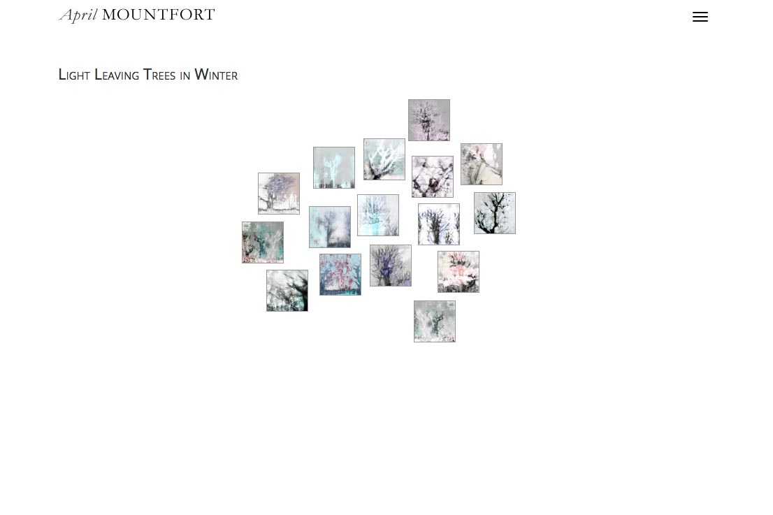 web design for a photographic artist and painter - April Mountfort - thumbnails page for light in trees portfolio page