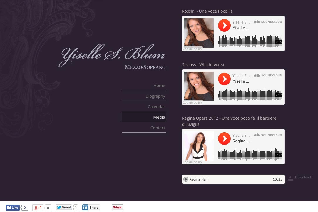web design for an opera singer - Yiselle Blum - audio page