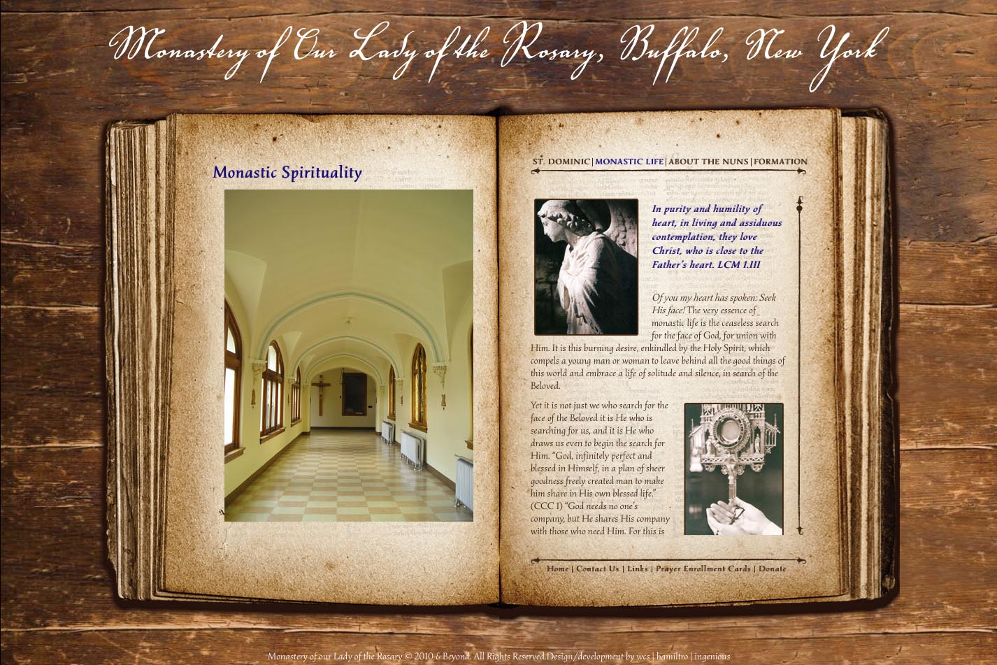 web design for a monastery - monastic spirituality page