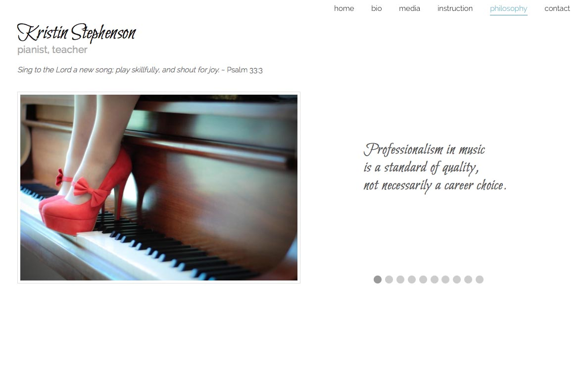 web design for a classical pianist and piano teacher - Kristin Stephenson - philosophy page