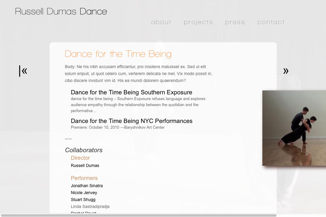 web design for a choreographer - Russell Dumas - single project page