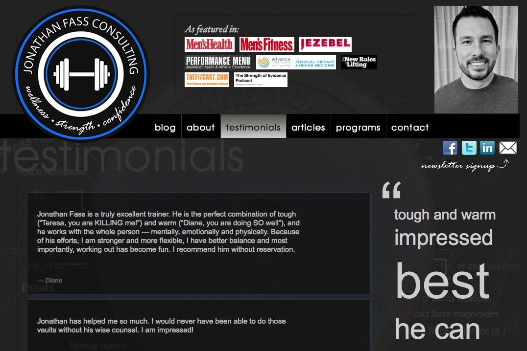 web design for a fitness trainer and consultant - Jonathan Fass - testimonials page