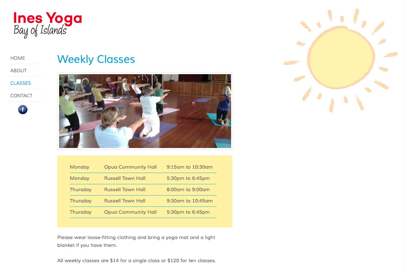 simple web design for a yoga teacher - Ines Piroth - class schedule page