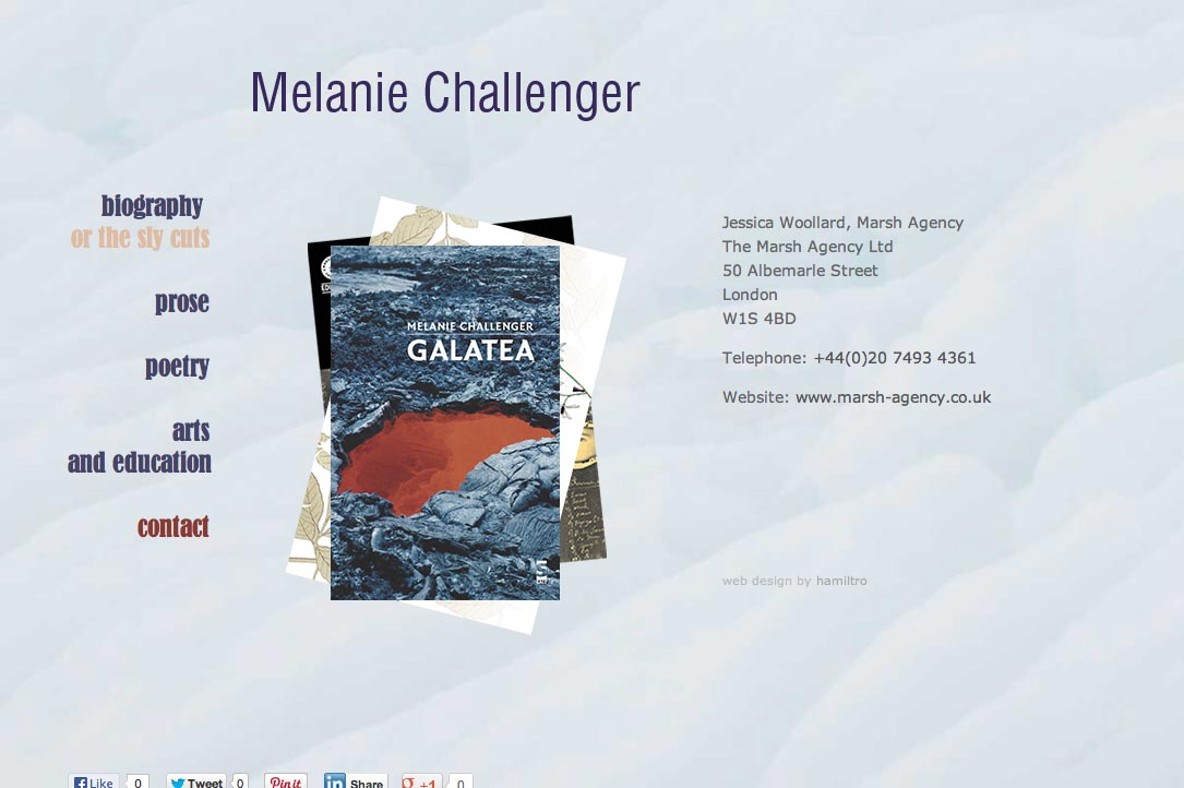 web design for a British writer - Melanie Challenger - contact page