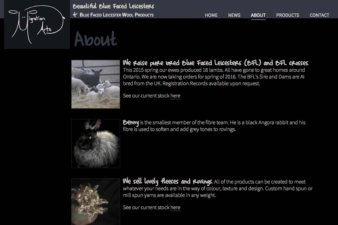 web design for a luxury wool products business - about page