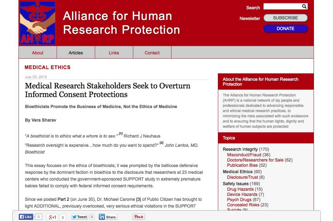 web design for a new york non-profit organization - single article page