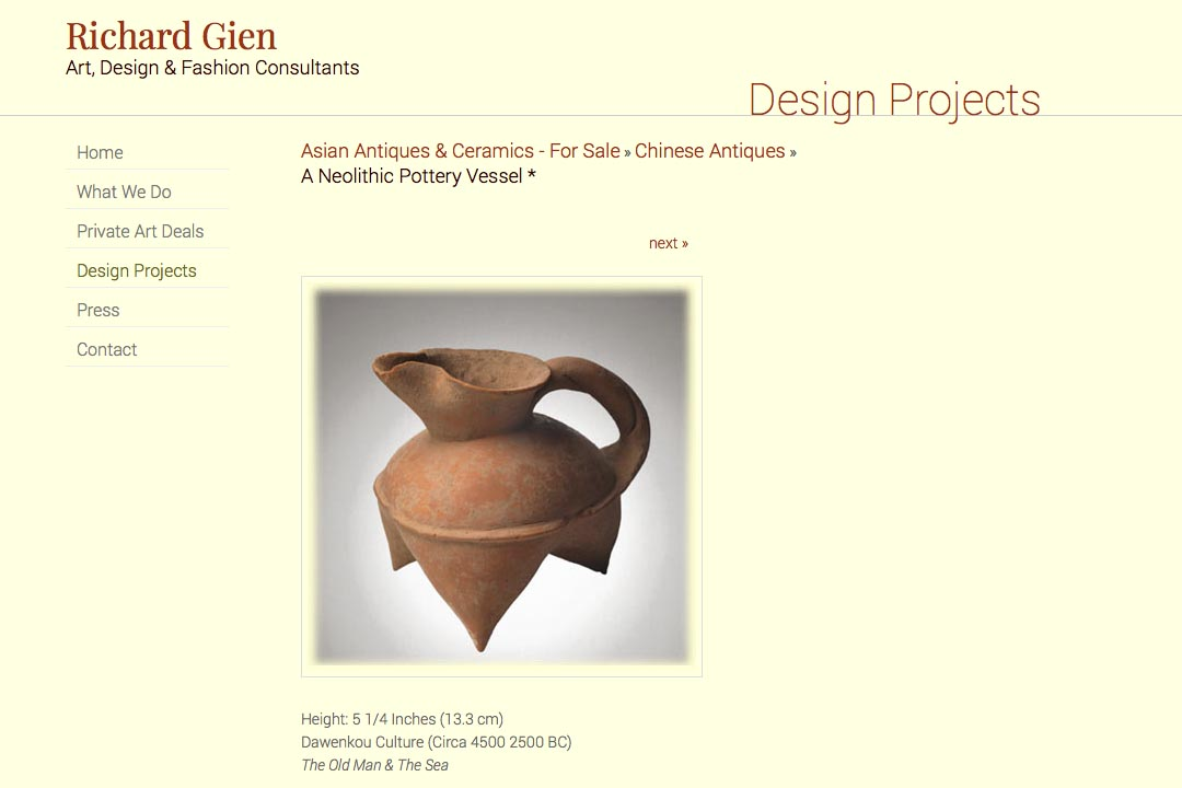 web design for a fashion designer, interior design consultant and art dealer - Richard Gien - asian antique ceramics single piece page