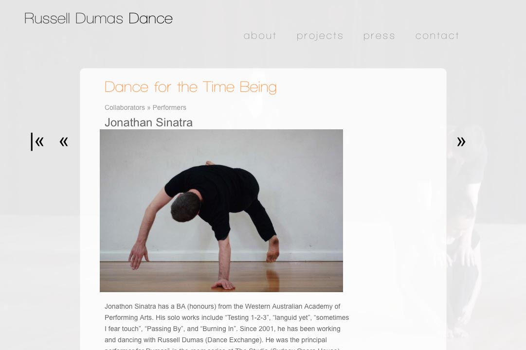 web design for a choreographer - Russell Dumas - collaborator single page