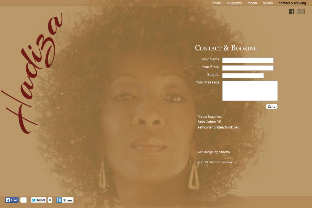 contact page design for website for a jazz singer - Hadiza Dockeray