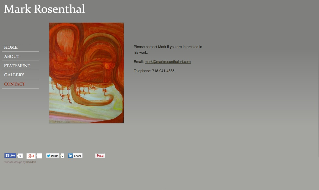 web design for an abstract painter in New York - contact page