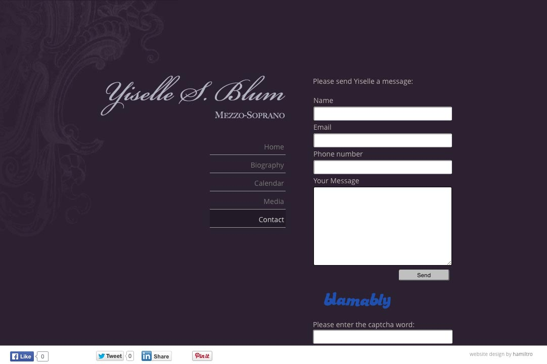 web design for an opera singer - Yiselle Blum - contact page