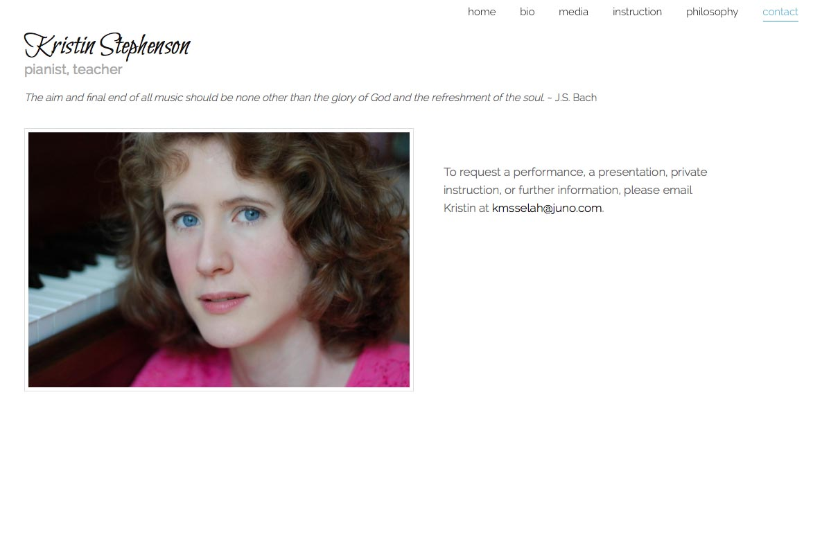 web design for a classical pianist and piano teacher - Kristin Stephenson - contact page