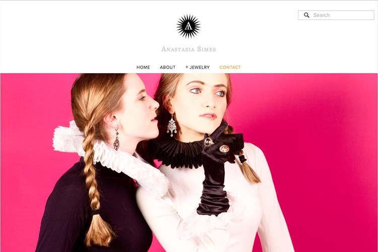 web design for a jewelry designer - contact page