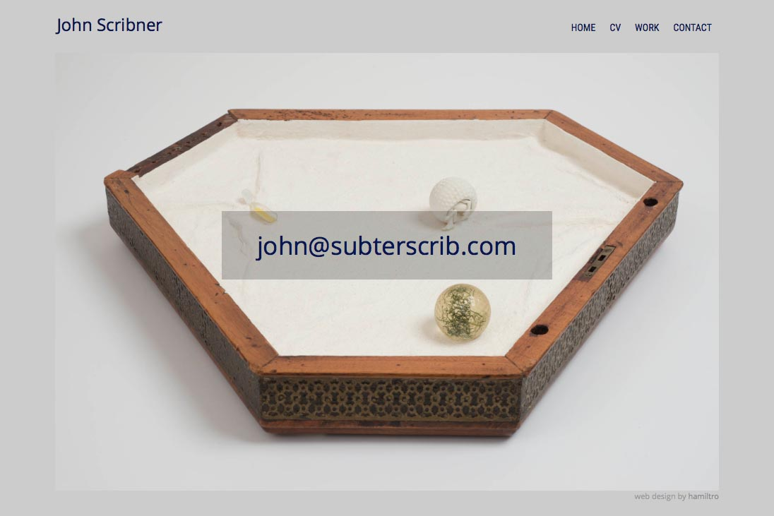 web design for an assemblage artist - contact page