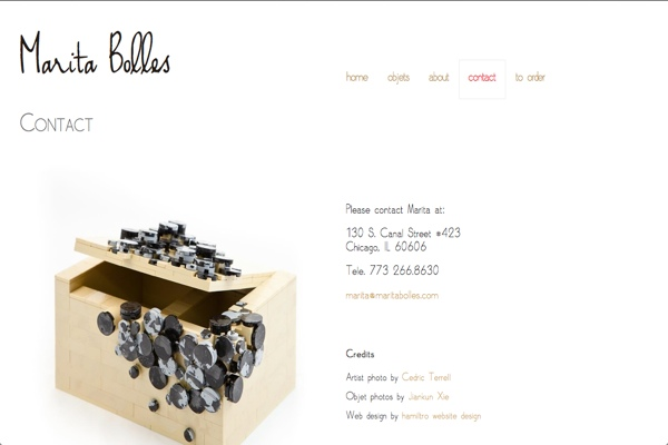 web design for a composer and sculptor - Marita Bolles - contact page