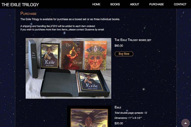 web design for a graphic novel - purchase section