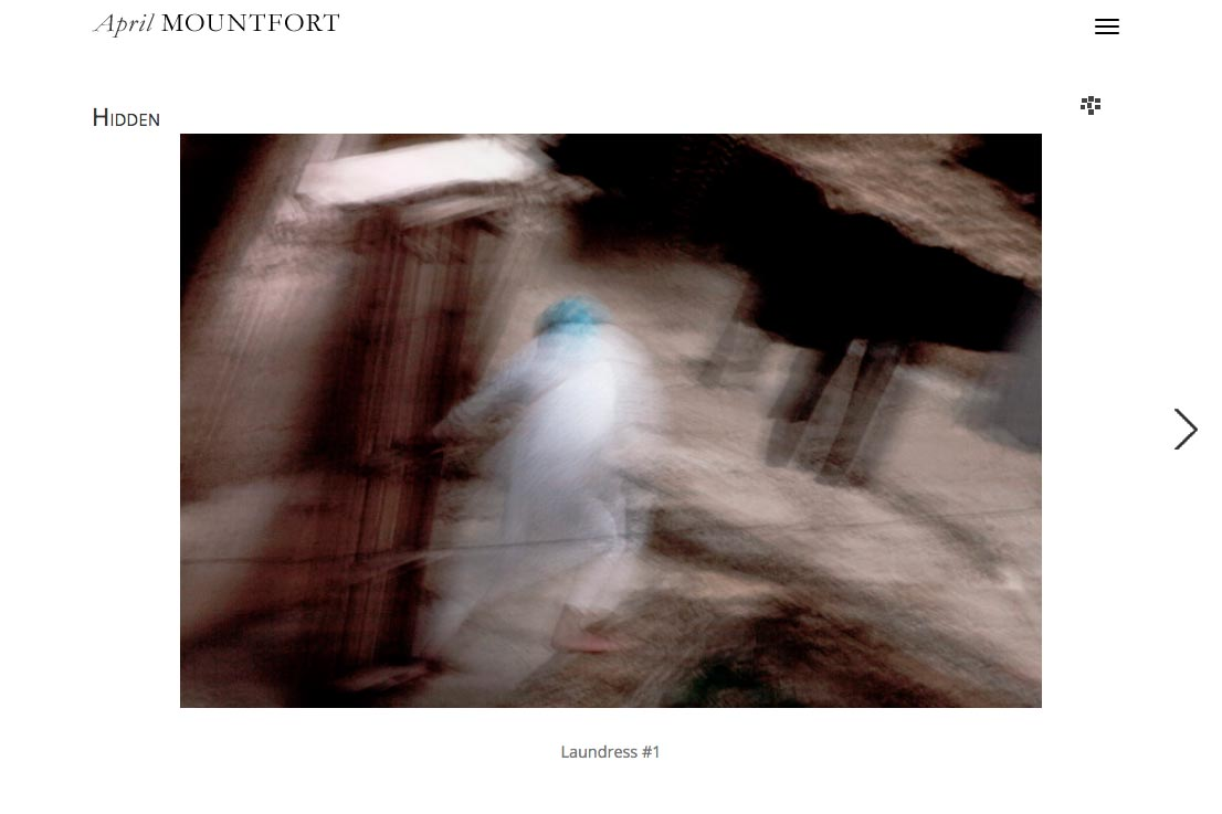 web design for a photographic artist and painter - April Mountfort - single artwork page in a portfolio