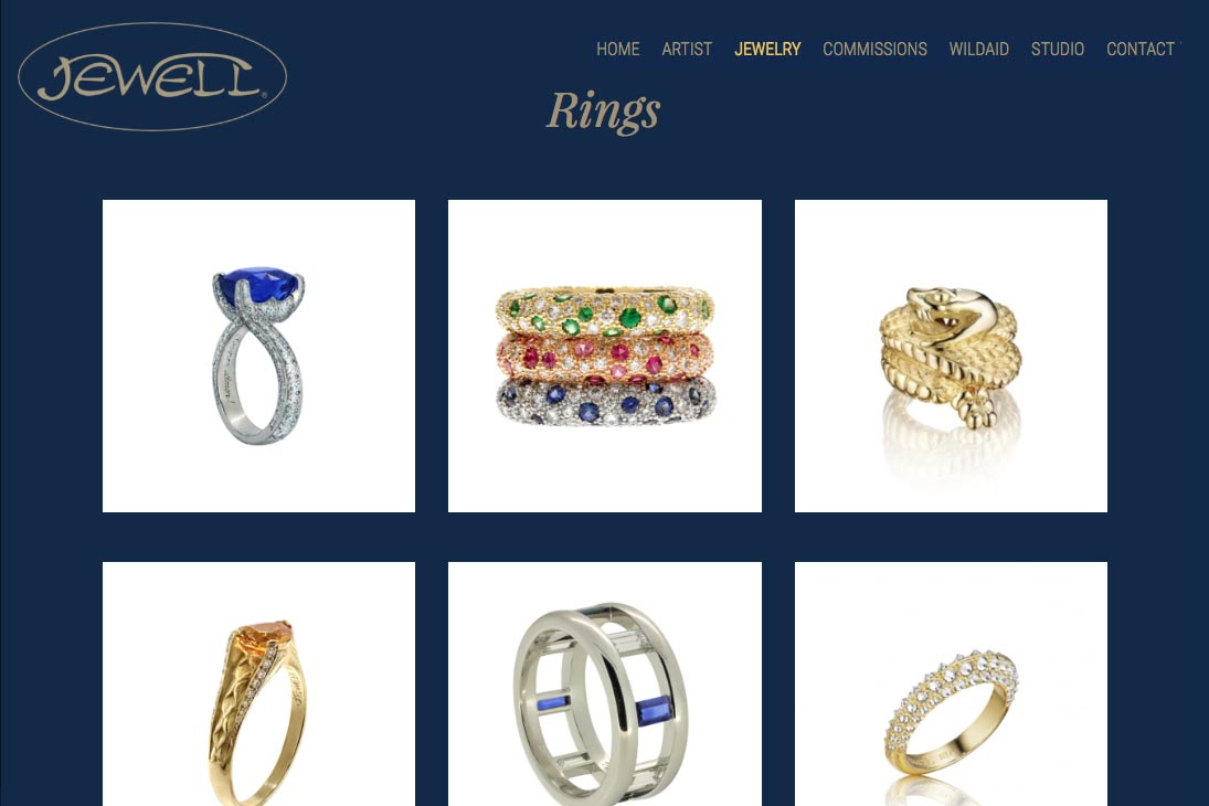 web design for an artisan-jeweler - rings index page