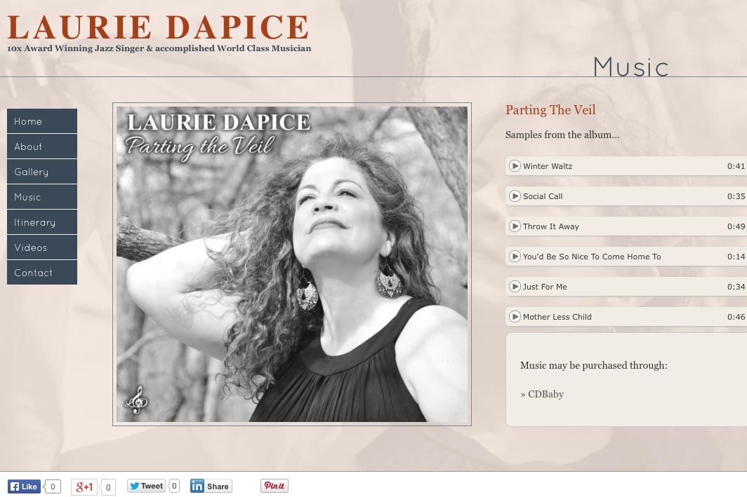 web design for a New York jazz singer - music page