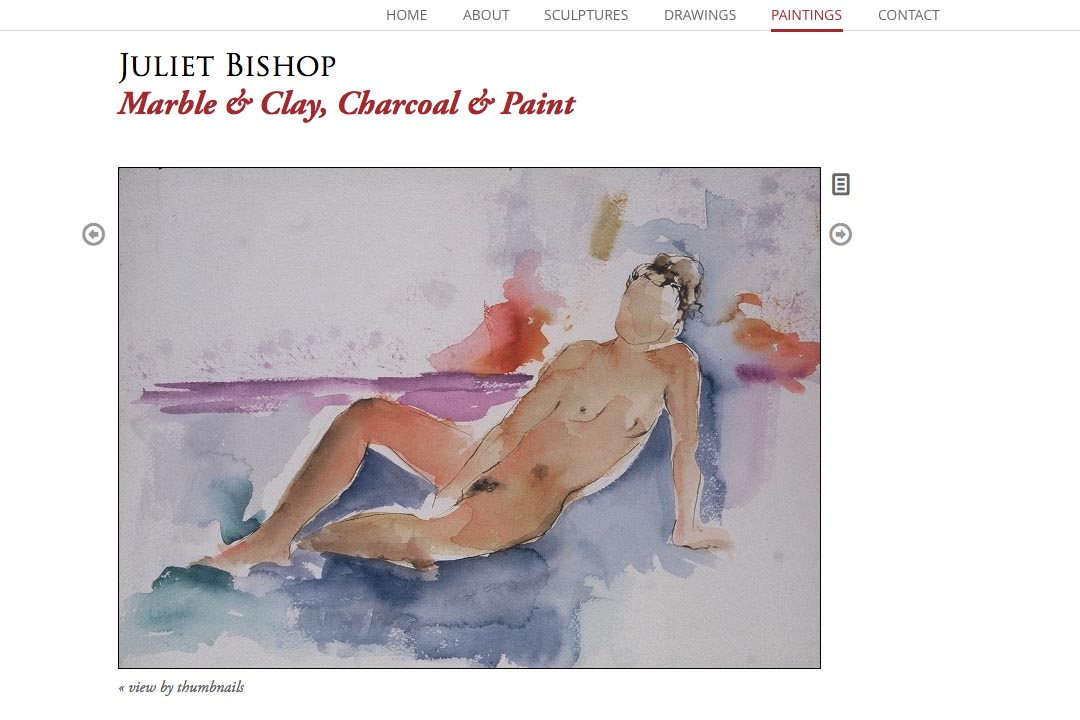 web design for a classical sculptor- Juliet Bishop - paintings page