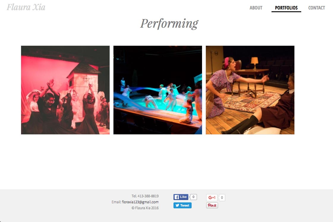 web design for an artist, writer, composer and actor - performance index page