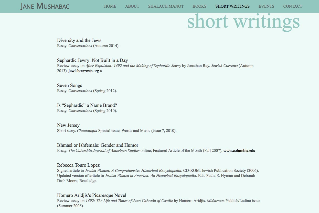web design for an author - short writings page